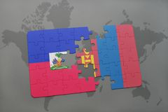 Puzzle with the national flag of haiti and mongolia on a world map Royalty Free Stock Photos