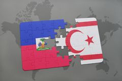 Puzzle with the national flag of haiti and northern cyprus on a world map Royalty Free Stock Photography