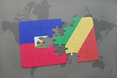 Puzzle with the national flag of haiti and republic of the congo on a world map Royalty Free Stock Photos