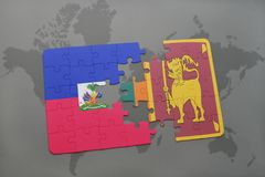 Puzzle with the national flag of haiti and sri lanka on a world map Royalty Free Stock Photo