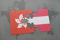 Puzzle with the national flag of hong kong and austria on a world map background. 3D illustration Stock Photos