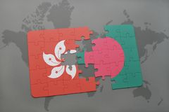 Puzzle with the national flag of hong kong and bangladesh on a world map background. 3D illustration Stock Images