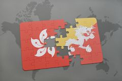 Puzzle with the national flag of hong kong and bhutan on a world map background. 3D illustration Stock Images