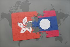 Puzzle with the national flag of hong kong and laos on a world map background. 3D illustration Royalty Free Stock Photos