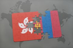 Puzzle with the national flag of hong kong and mongolia on a world map background. 3D illustration Royalty Free Stock Photo