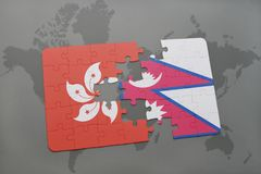 Puzzle with the national flag of hong kong and nepal on a world map background. 3D illustration Royalty Free Stock Photo