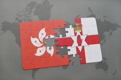 Puzzle with the national flag of hong kong and northern ireland on a world map background. 3D illustration Stock Photo