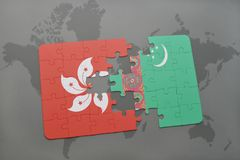Puzzle with the national flag of hong kong and turkmenistan on a world map background. 3D illustration Stock Images