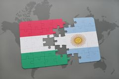Puzzle with the national flag of hungary and argentina on a world map Royalty Free Stock Photography
