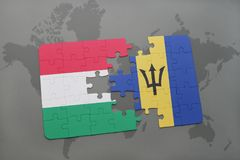 Puzzle with the national flag of hungary and barbados on a world map Stock Images