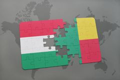 Puzzle with the national flag of hungary and benin on a world map Stock Images