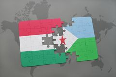 Puzzle with the national flag of hungary and djibouti on a world map Stock Image