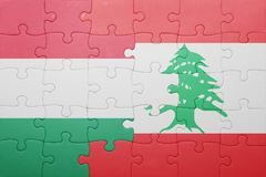 Puzzle with the national flag of hungary and lebanon Stock Photography
