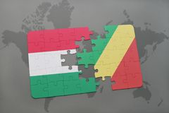 Puzzle with the national flag of hungary and republic of the congo on a world map Stock Photo