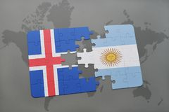 Puzzle with the national flag of iceland and argentina on a world map. Background. 3D illustration Stock Image