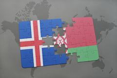 Puzzle with the national flag of iceland and belarus on a world map background. 3D illustration Royalty Free Stock Photography