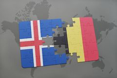 Puzzle with the national flag of iceland and belgium on a world map background. 3D illustration Royalty Free Stock Photo