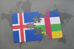 Puzzle with the national flag of iceland and central african republic on a world map. Background. 3D illustration Stock Image