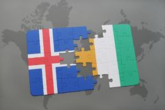 Puzzle with the national flag of iceland and cote divoire on a world map. Background. 3D illustration Stock Photo