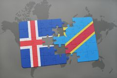 Puzzle with the national flag of iceland and democratic republic of the congo on a world map. Background. 3D illustration Royalty Free Stock Image
