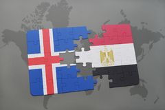 Puzzle with the national flag of iceland and egypt on a world map. Background. 3D illustration stock photo