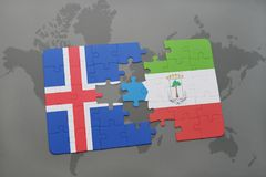 Puzzle with the national flag of iceland and equatorial guinea on a world map. Background. 3D illustration Stock Image