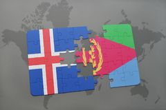 Puzzle with the national flag of iceland and eritrea on a world map. Background. 3D illustration Royalty Free Stock Photo