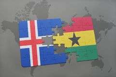 Puzzle with the national flag of iceland and ghana on a world map. Background. 3D illustration Stock Photos