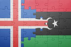 puzzle with the national flag of iceland and libya Royalty Free Stock Images