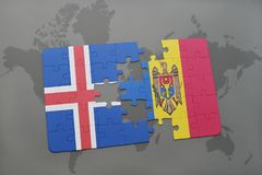Puzzle with the national flag of iceland and moldova on a world map background. 3D illustration Stock Photography