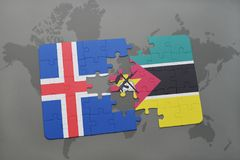 Puzzle with the national flag of iceland and mozambique on a world map. Background. 3D illustration Royalty Free Stock Photos