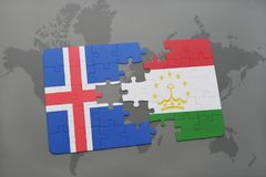 Puzzle with the national flag of iceland and tajikistan on a world map. Background. 3D illustration Royalty Free Stock Photography