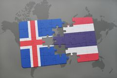 Puzzle with the national flag of iceland and thailand on a world map. Background. 3D illustration Royalty Free Stock Images