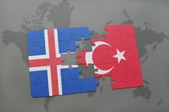 Puzzle with the national flag of iceland and turkey on a world map background. 3D illustration royalty free stock photos