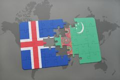 Puzzle with the national flag of iceland and turkmenistan on a world map. Background. 3D illustration Royalty Free Stock Images