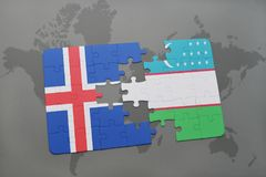 Puzzle with the national flag of iceland and uzbekistan on a world map. Background. 3D illustration Stock Photo