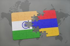 Puzzle with the national flag of india and armenia on a world map background. Royalty Free Stock Photos