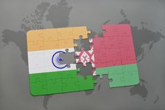 Puzzle with the national flag of india and belarus on a world map background. 3D illustration royalty free stock photos