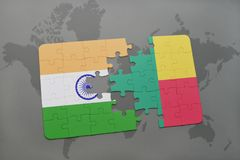 Puzzle with the national flag of india and benin on a world map background. 3D illustration stock photos