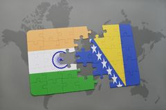 Puzzle with the national flag of india and bosnia and herzegovina on a world map background. 3D illustration royalty free stock photography