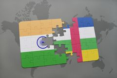 Puzzle with the national flag of india and central african republic on a world map background. 3D illustration royalty free stock photo