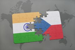 Puzzle with the national flag of india and czech republic on a world map background. 3D illustration royalty free stock images