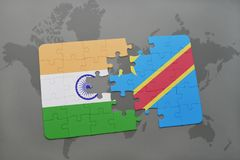 Puzzle with the national flag of india and democratic republic of the congo on a world map background. 3D illustration stock photography