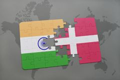 Puzzle with the national flag of india and denmark on a world map background. 3D illustration stock photo