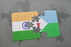 Puzzle with the national flag of india and djibouti on a world map background. 3D illustration stock photos