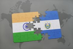 Puzzle with the national flag of india and el salvador on a world map background. 3D illustration royalty free stock photos