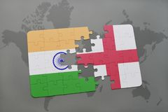 Puzzle with the national flag of india and england on a world map background. 3D illustration stock photography