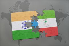 Puzzle with the national flag of india and equatorial guinea on a world map background. 3D illustration royalty free stock images