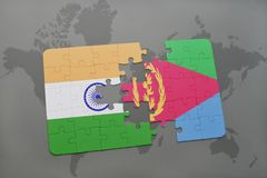 Puzzle with the national flag of india and eritrea on a world map background. 3D illustration royalty free stock photo
