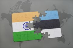 Puzzle with the national flag of india and estonia on a world map background. 3D illustration stock photography